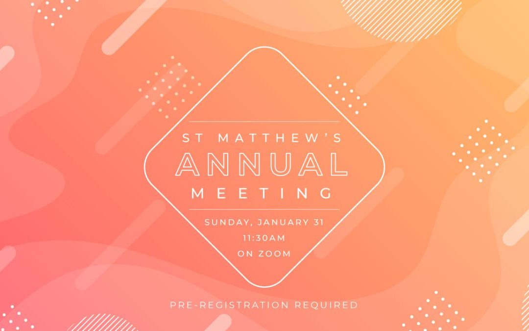 January 31 Annual Congregational Meeting